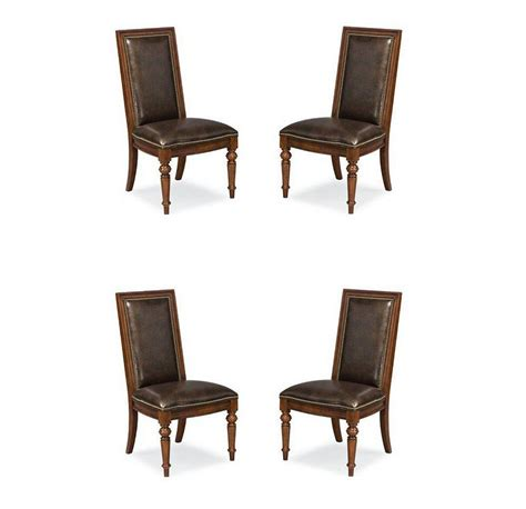 Thomasville Dining Chairs Thomasville Furniture Fredericksburg Mahogany Leather Side Dining Chairs Opt Qty Ebay