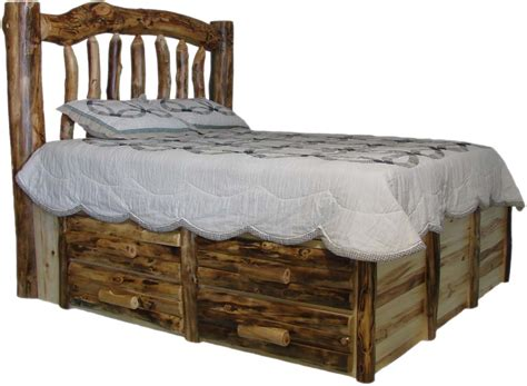 Log King Bed Frame Futon Mattress Base Rustic Espresso Bed Mattress Sale