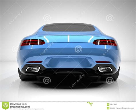 car rear view sports car rear view the image of a sports blue stock