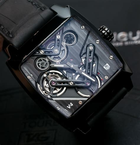 Tagheuer Monaco V4 Black tag heuer monaco v4 tourbillon on ablogtowatch