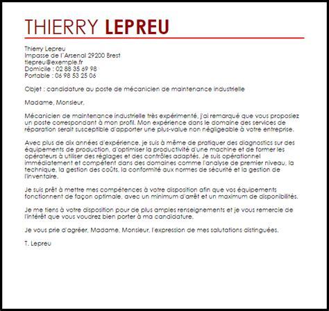 Lettre De Motivation De Mecanicien exemple lettre de motivation m 233 canicien de maintenance