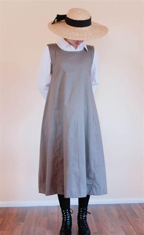 Plain Pinafore Midi Dress jumper dress womens modest pinafore dress modest