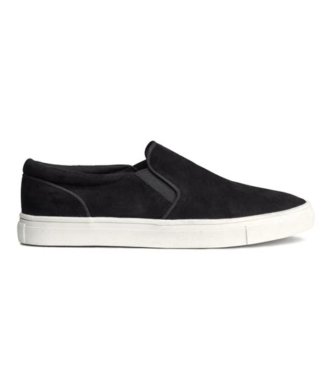 shoes h m h m suede sneakers in black lyst