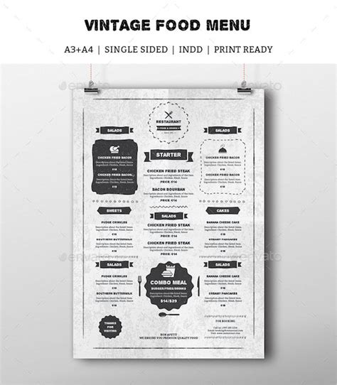 Vintage Food Menu Indesign Template Drinks Menu Rustic Sketch Download Https Indesign Restaurant Menu Template