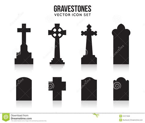 tombstone silhouette icons isolated on white stock vector