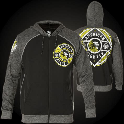 Hoodie Sweater Fighter Fei Grey Backfront Logo american fighter by affliction hoody benjamin with logo prints
