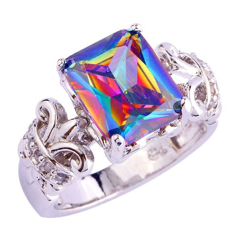 Topaz Gift Card Balance - nice gift rainbow white topaz gemstone jewelry aaa silver ring size 7 8 9 10 ebay