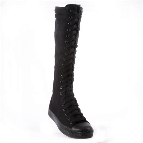 knee high top canvas boots womens casual sneakers lace up