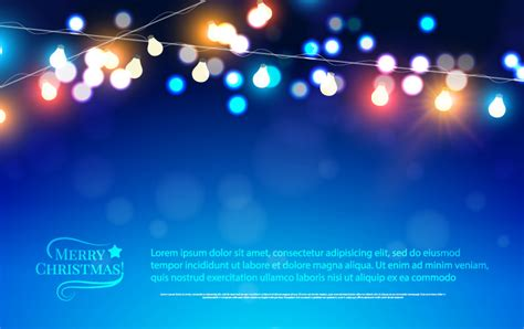 Merry Christmas Blue Background Vector Free Vector Lights Graphic