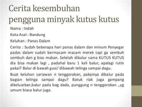 Minyak Kutus Kutus Bandung kesembuhan pengguna kutus kutus