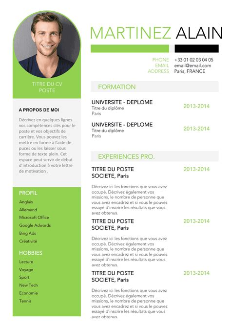 open office templates curriculum vitae exemple de cv epur 233 gratuit 224 t 233 l 233 charger