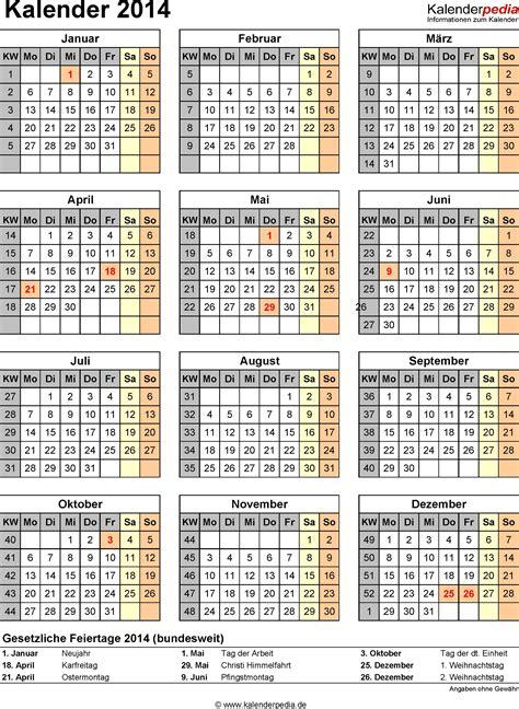 Kalender Mit Kw Und Feiertagen Kalender 2014 Mit Excel Pdf Word Vorlagen Feiertagen