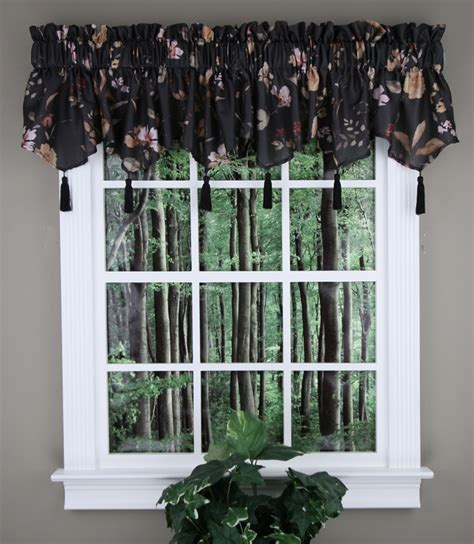 Black Kitchen Curtains And Valances ascot curtain valance in black kitchen valances