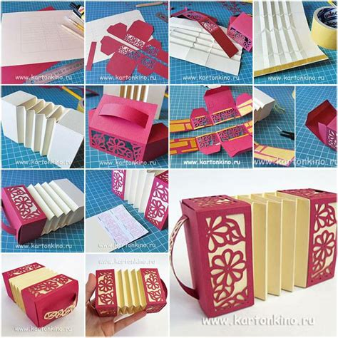 Paper Crafts Tutorial - how to make paper harmonica box step by step diy tutorial