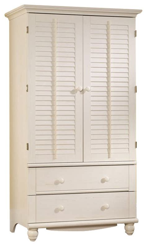 Sauder White Armoire by Sauder Harbor View Armoire In Antiqued White