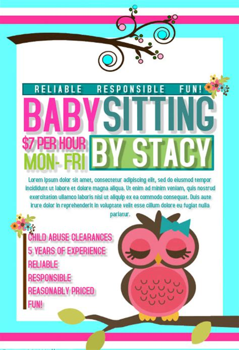 babysitting flyers babysitting flyer printable printable babysitting flyers