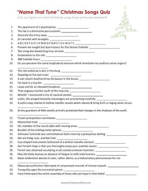 printable christmas lyrics quiz 7 best images of name that tune trivia printable