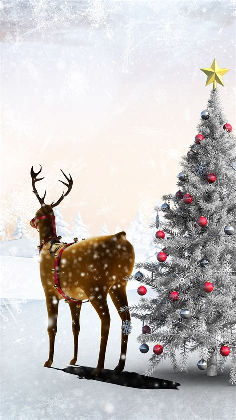 wallpaper snow winter deer christmas tree balls forest snowflakes art picture