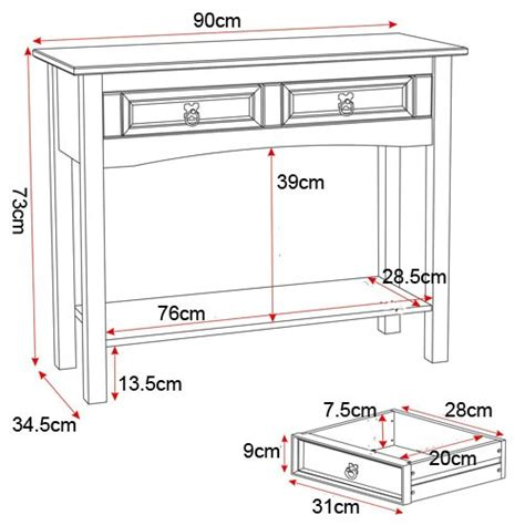 seconique original corona pine 2 drawer console table with