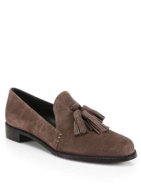 stuart weitzman loafer stuart weitzman guido suede tassel loafers in brown lyst
