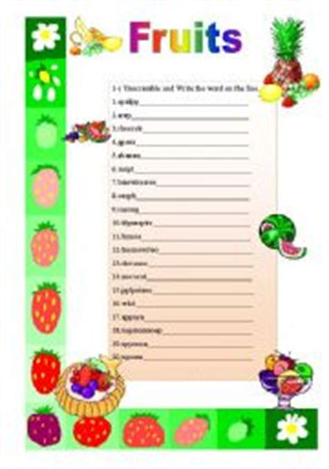 fruit unscramble fruits unscramble with answers