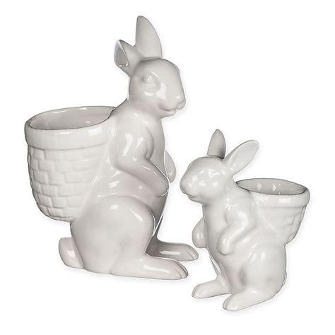 ceramic bunny planters  white set   ceramic bunny