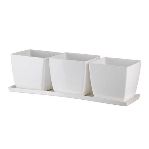 vasi in plastica quadrati set di 3 vasi quadrati con sottovaso in plastica 100