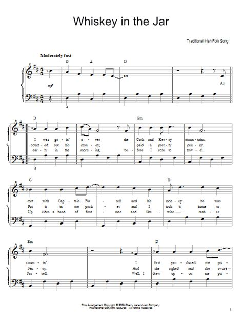 metallica whisky in the jar lyrics whiskey in the jar sheet music by irish folksong easy