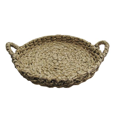 Large Decorative Tray Large Round Shallow Reed Storage Basket