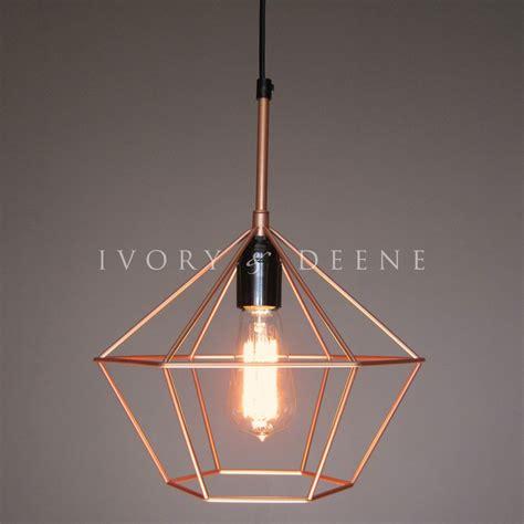 Diamond cage pendant copper tone wire lamp light retro chandelier