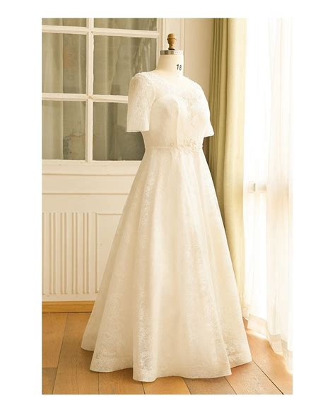 modest lace wedding dresses with sleeves modest plus size ivory lace mature women wedding dress