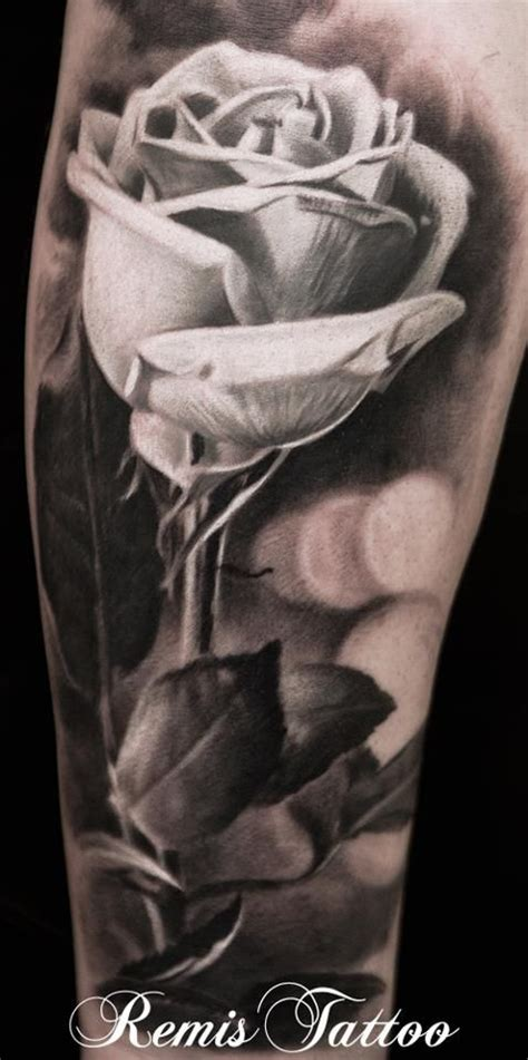 realistic black and grey rose tattoo realistic black and grey by remistattoo on