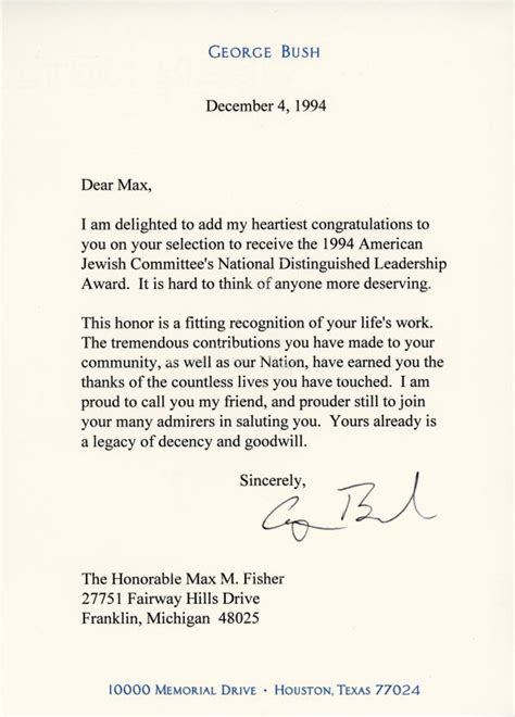 Gold Award Letter President Congratulatory Letter From President George H W Bush Max Fisher
