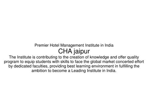 Premier Mba Institutes In India by Ppt Hotel Management In Jaipur College Hotel Courses