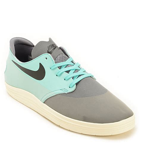 cool nike sneakers nike sb lunar oneshot cool grey turquoise skate shoes at