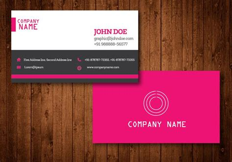 pink creative business card vector template download