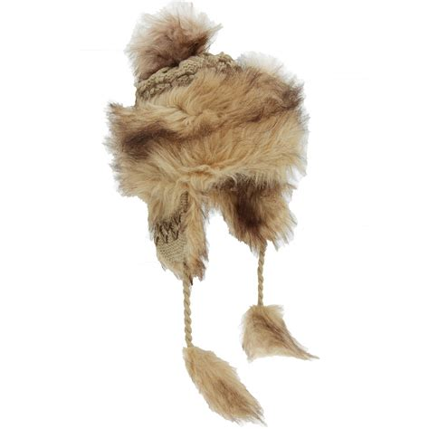 womens knitted winter trapper hat with faux fur