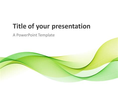 Modern Green Waves Powerpoint Template Presentationgo Com Green Powerpoint Templates Free
