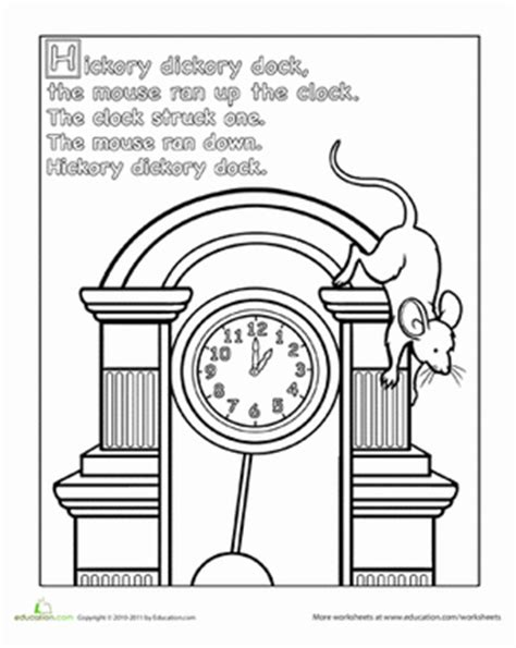 hickory dickory dock coloring page hickory dickory dock