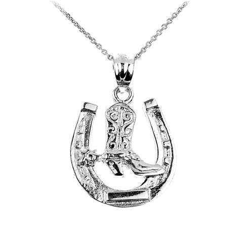 sterling silver lucky horseshoe charm pendant necklace ebay