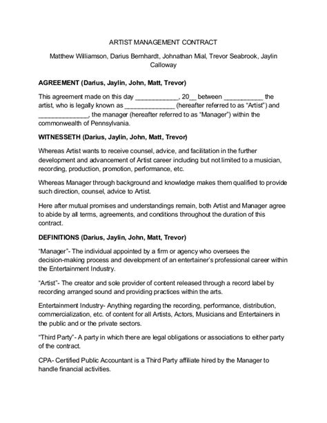 Artist Management Contract Artist Management Contract Template