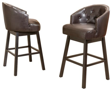brown bar stools leather westman brown leather swivel backed barstool set of 2