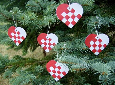danish mini woven heart christmas ornaments or nordic