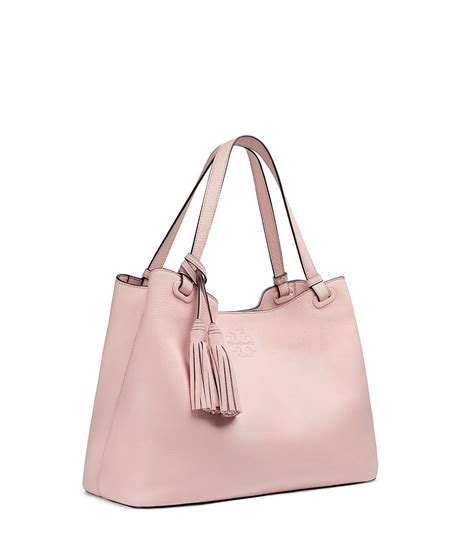 burch thea center zip leather tote in pink lyst