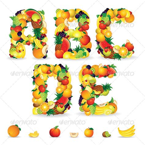 fruit 3 letters colorful letters from fruits vector clip graphicriver