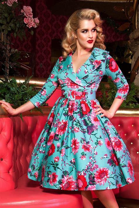 Birdie Dress 50s birdie floral dress in turquoise and pink