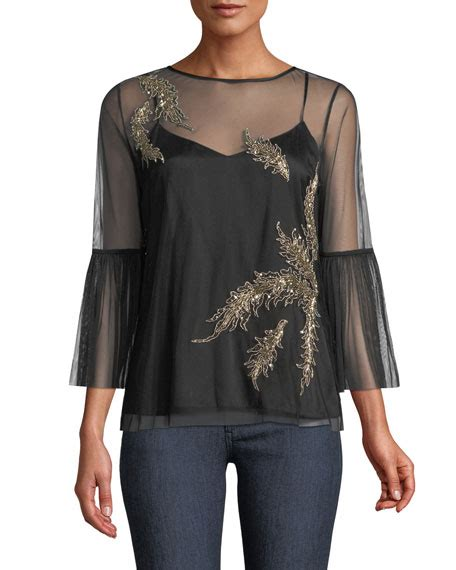 Adela Blouse by Elie Tahari Adela Embroidered Tulle Blouse Neiman
