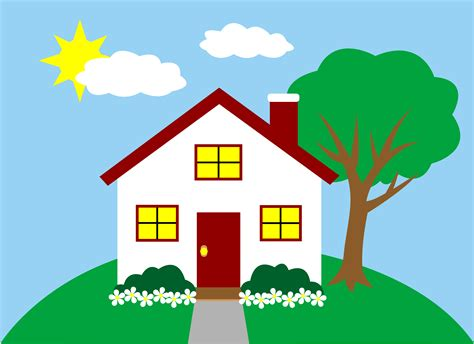 house of art quaint little house on a hill free clip art