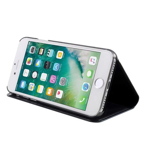 Mirror Flip Cover For Iphone luksus mirror view iphone 7 iphone 8 flip cover sort