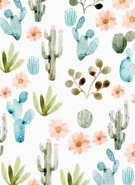 pastel watercolor pattern backgrounds cactus background floral pastel tumblr